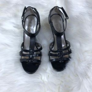Me Too Black Strappy Wedge Sandals